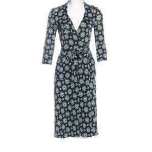 VTG Diane Von Furstenberg Rev Duenne Wrap Dress 6 Silk Jersey Roll Tab Geometric